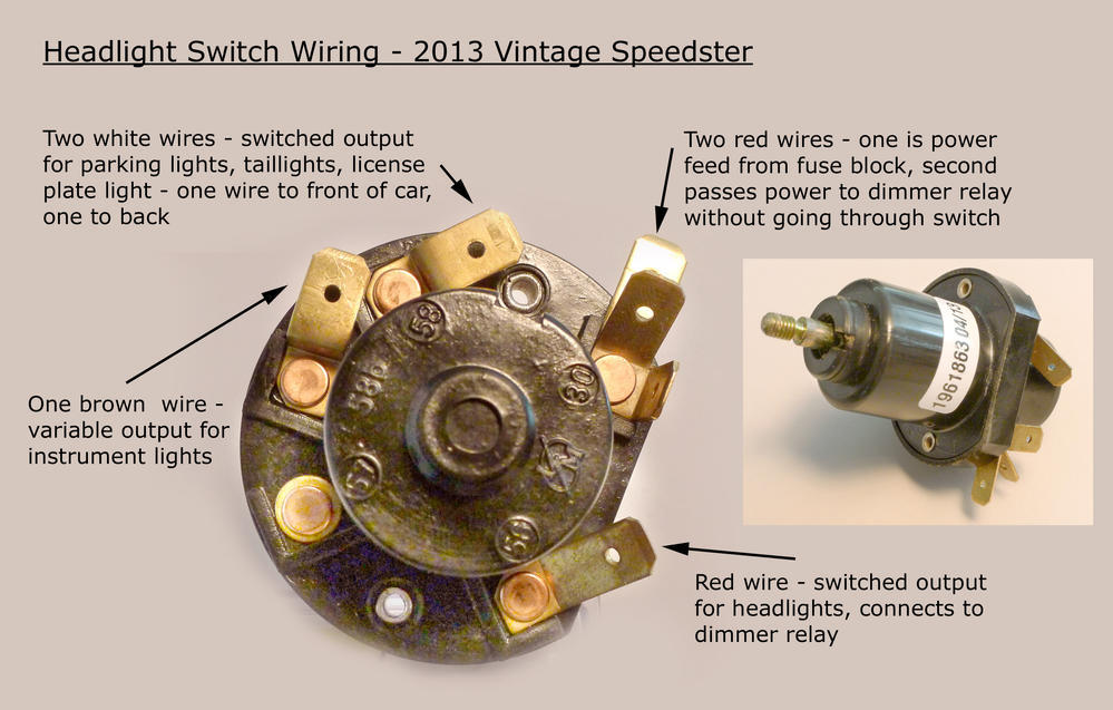 headlight switch help speedsterowners com 356 speedsters, 550 ford falcon ignition wiring diagram porsche 356 ignition switch wiring diagram #35