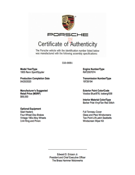 Certificate of InAuthenticity 2b