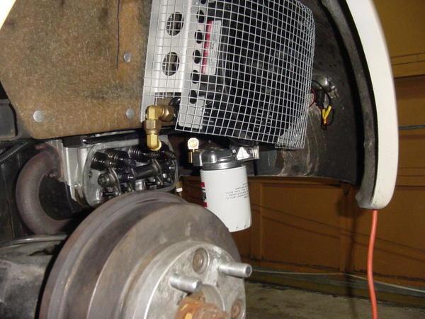 oil cooler in fenderwell- Gordon's