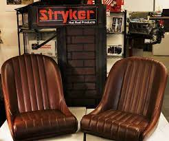 This is a pair of Stryker low back bucket bomber seats. Vintage collection in Toffee color   Car interior upholstery, Car seat upholstery, Diy truck interior