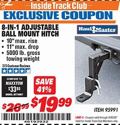 Image result for harbor freight adjustable hitch
