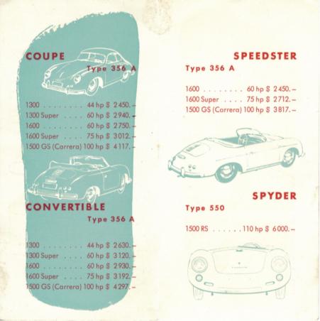 356 Porsche price lists