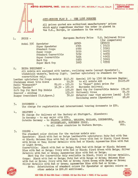 1958 price sheet